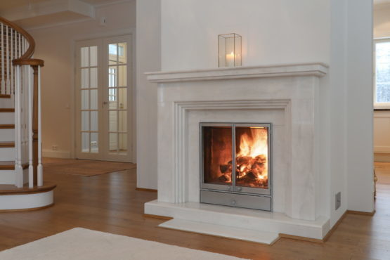 Photo shows a Villa Cone Beach fireplace improving sustainability.