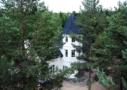 Photo shows the light-coloured Villa Cone Beach from the air through dark green pine trees.
