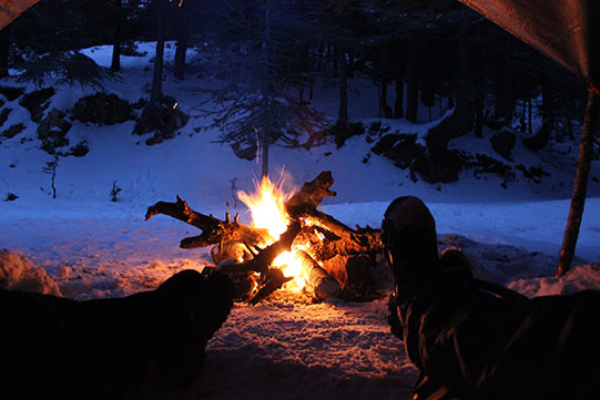 Another campfire during winter.